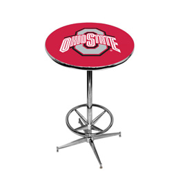 Ohio State Buckeyes Pub Table w/Chrome Foot Ring Base, Style 1