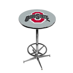 Ohio State Buckeyes Pub Table w/Chrome Foot Ring Base, Style 2